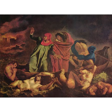 Canvas Print Delacroix, Eugène Ferdinand Victor - Dante and Virgil in Hell  (The Dante Bark) Stretched Canvas 10 x 14
