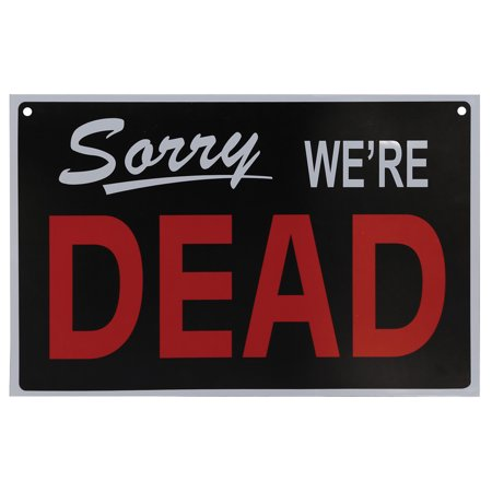 We're Dead Open For Victims Reversible PVC Sign Halloween Decoration Prop - Halloween Map Open