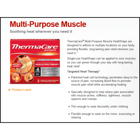 ThermaCare HeatWraps Multi-Purpose Muscle Heat Therapy Advanced Pain Relief 9 Wraps = 3 Boxes - MS80389 (Therapy Hock Wraps)