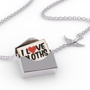 Locket Necklace I Love Sloths in a silver Envelope Neonblond