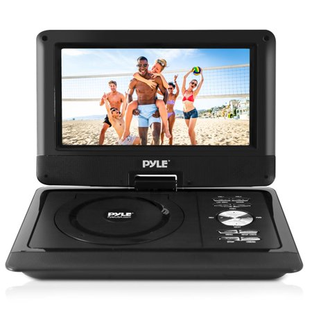 PYLE PDV101BK - 10'' Portable CD/DVD Player, HD Widescreen Display, Built-in Rechargeable Battery, USB/SD Card Memory