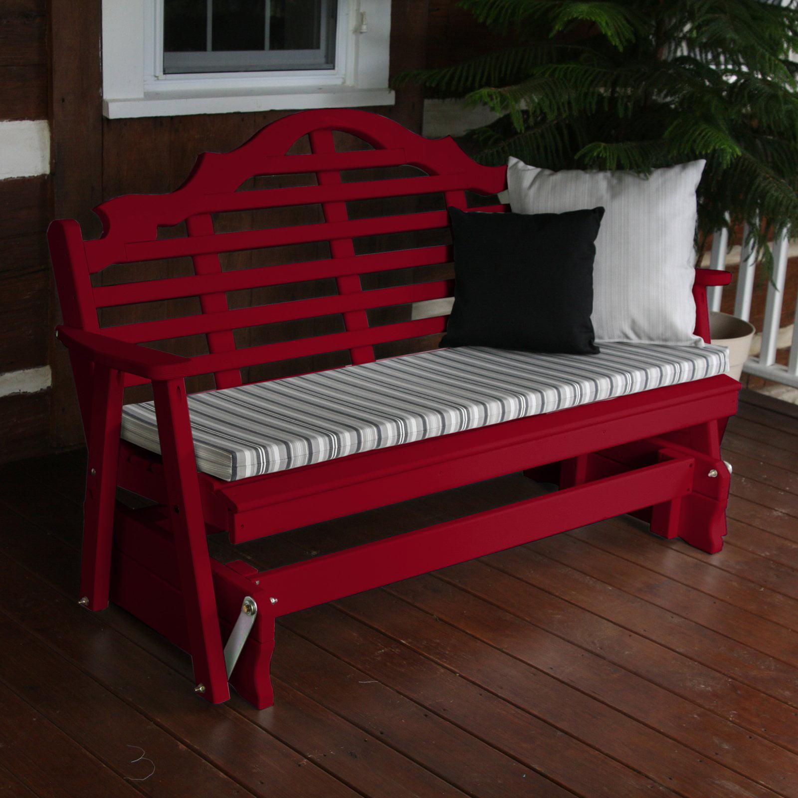 A U0026amp; L Furniture Yellow Pine Marlboro Outdoor Bench Glider   Walmart.com