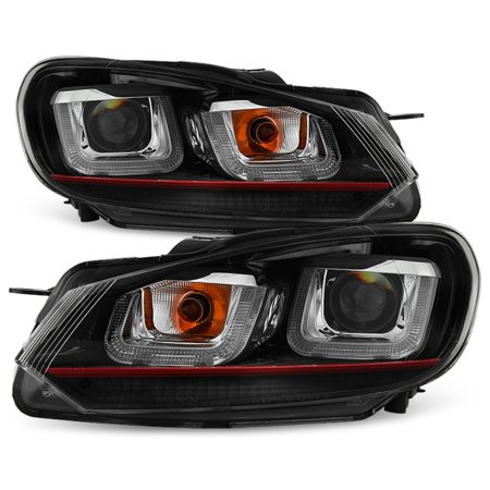 Gti Projectors (Fits [Red Stripe Edition] 10-14 VW Golf GTI Black LED Tube Projector Headlights )