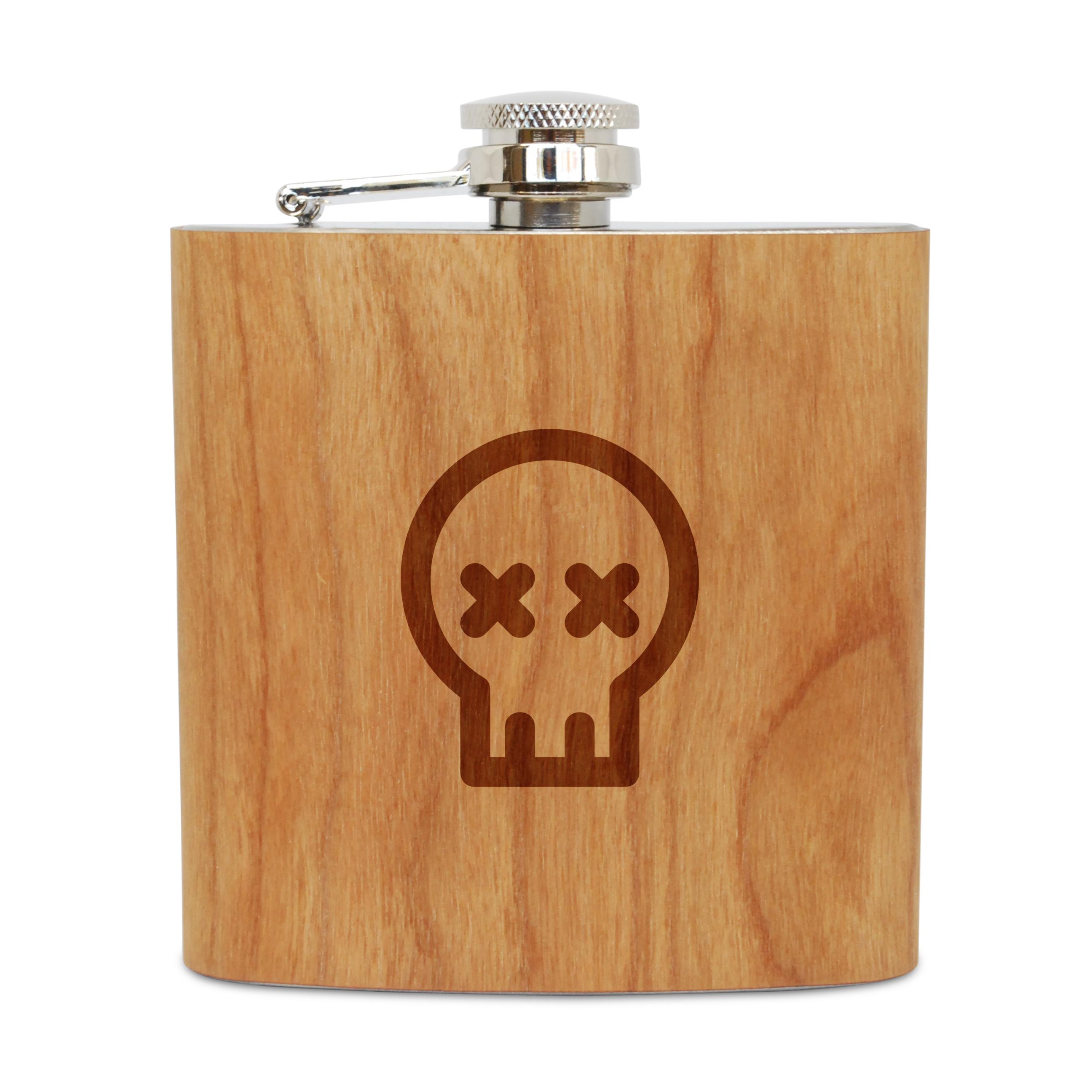 Cute Skull 6 Oz Wooden Flask (Cherry), Stainless Steel Body, Handmade In Usa