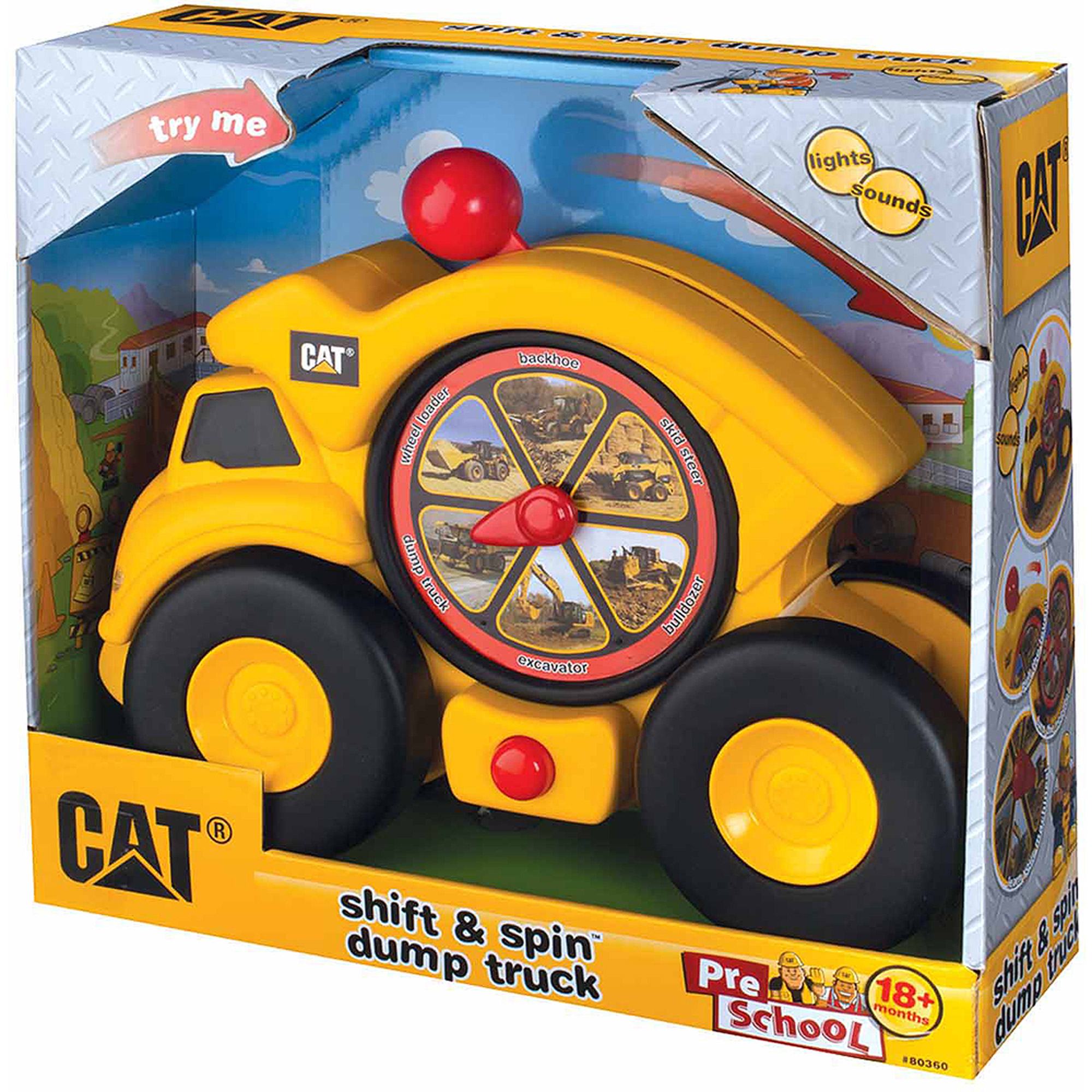 Toysmith Caterpillar Shift and Spin Dump Truck, Cat