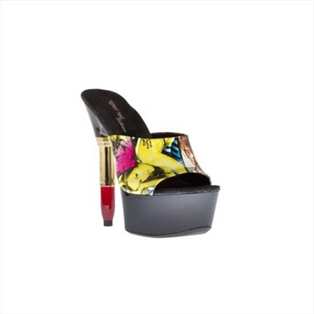 Highest Heel LIPSTICK-31-B&RE-7 6 in. Exclusive Lipstick Heel Sandal with Screen Printed Mule Upper in Black-Red Combo - Size 7 - image 1 of 1