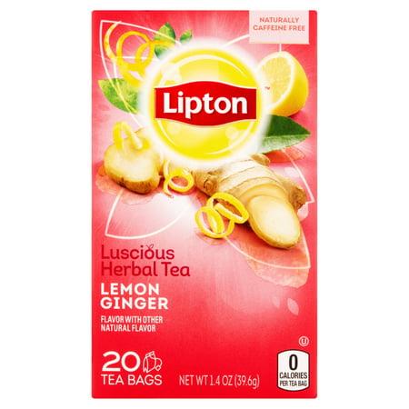 (3 Pack) Lipton Herbal Tea Bags Lemon Ginger 20