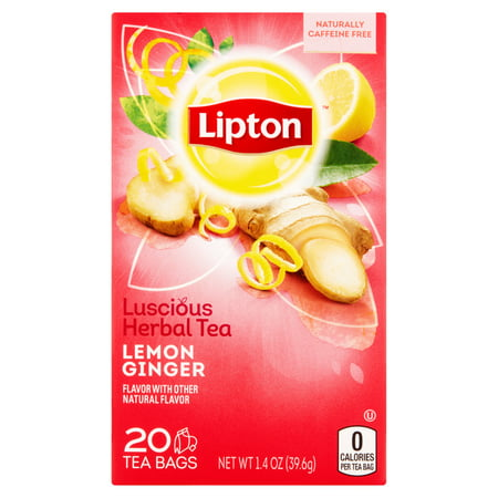 - (3 Pack) Lipton Herbal Tea Bags Lemon Ginger 20 ct