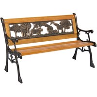 Best Choice Products Kids Mini Sized Outdoor Hardwood Patio Park Bench Decoration Accent w/ Aluminum Frame and Safari Animal Accents, Brown