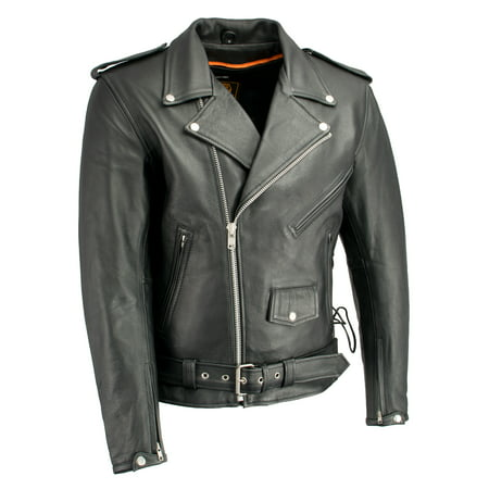 Men's Classic Side Lace Police Style M/C Jacket w/ Gun Pockets Classic Side Lace Motorcycle Jacket