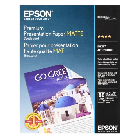 - Epson Premium Presentation Paper Matte, Double-Sided (8.5