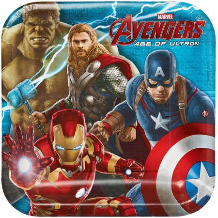 "Avengers 9"" Square Plate, 8 Count, Party Supplies"