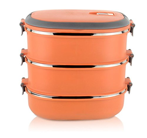 Redcolourful Stainless Steel Three Layer Lunch Box Insulated Food Container Bento Box with Handle, Orange
