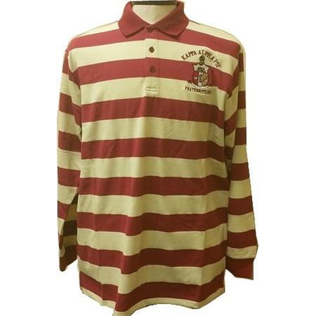 - Buffalo Dallas Kappa Alpha Psi Rugby Style Striped Polo Mens Tee [Long Sleeve - Crimson Red/Cream - XL]