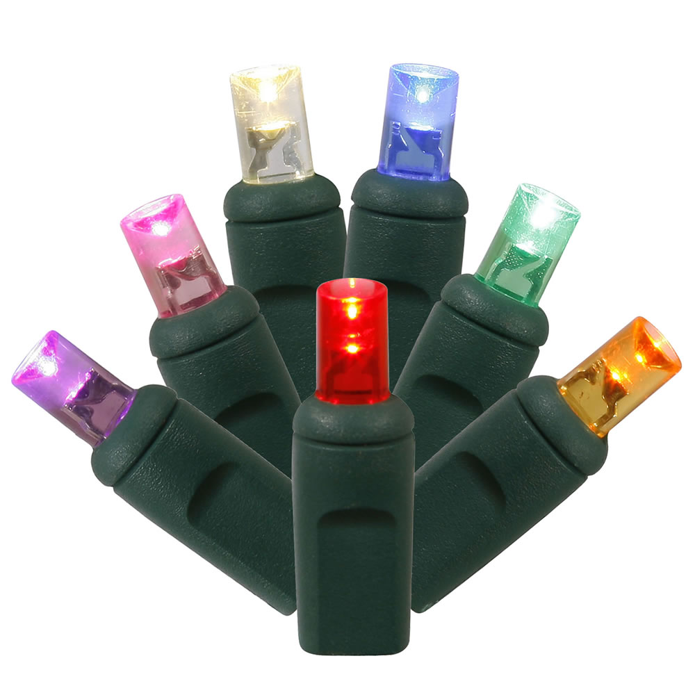 Set of 100 Multi Color Commercial Grade LED Wide Angle Mini Christmas Lights - Green Wire