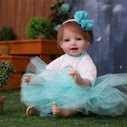 Reborn Doll,22'' Handmade Silicone Real Looking Baby Smile Girl Doll Infant Toy Baby Birthday gift