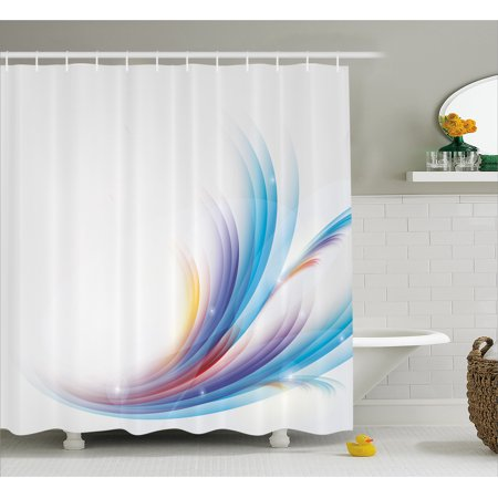ba2136a862f3 Abstract Shower Curtain, Modern Rainbow Inspired Wavy Pattern with Blank  Background Image, Fabric Bathroom Set with Hooks, Blue Purple Orange and  Red, ...