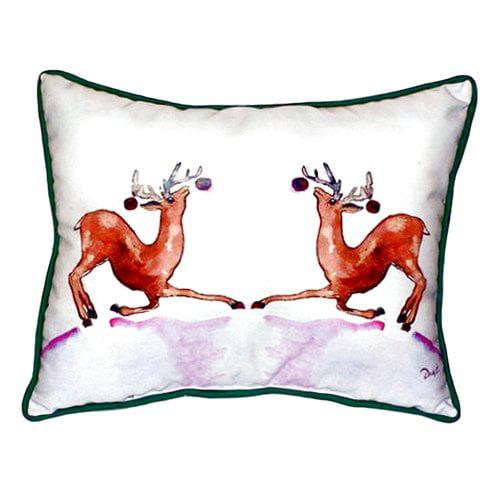 Betsy Drake Interiors Dancing Deer Indoor/Outdoor Lumbar Pillow