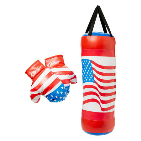 USA  Boxing Children's Pretend Play Toy Boxing Play Set w/ Stuffed Punching Bag, Pair of Soft Padded Boxing Gloves - Blow Up Boxing Gloves