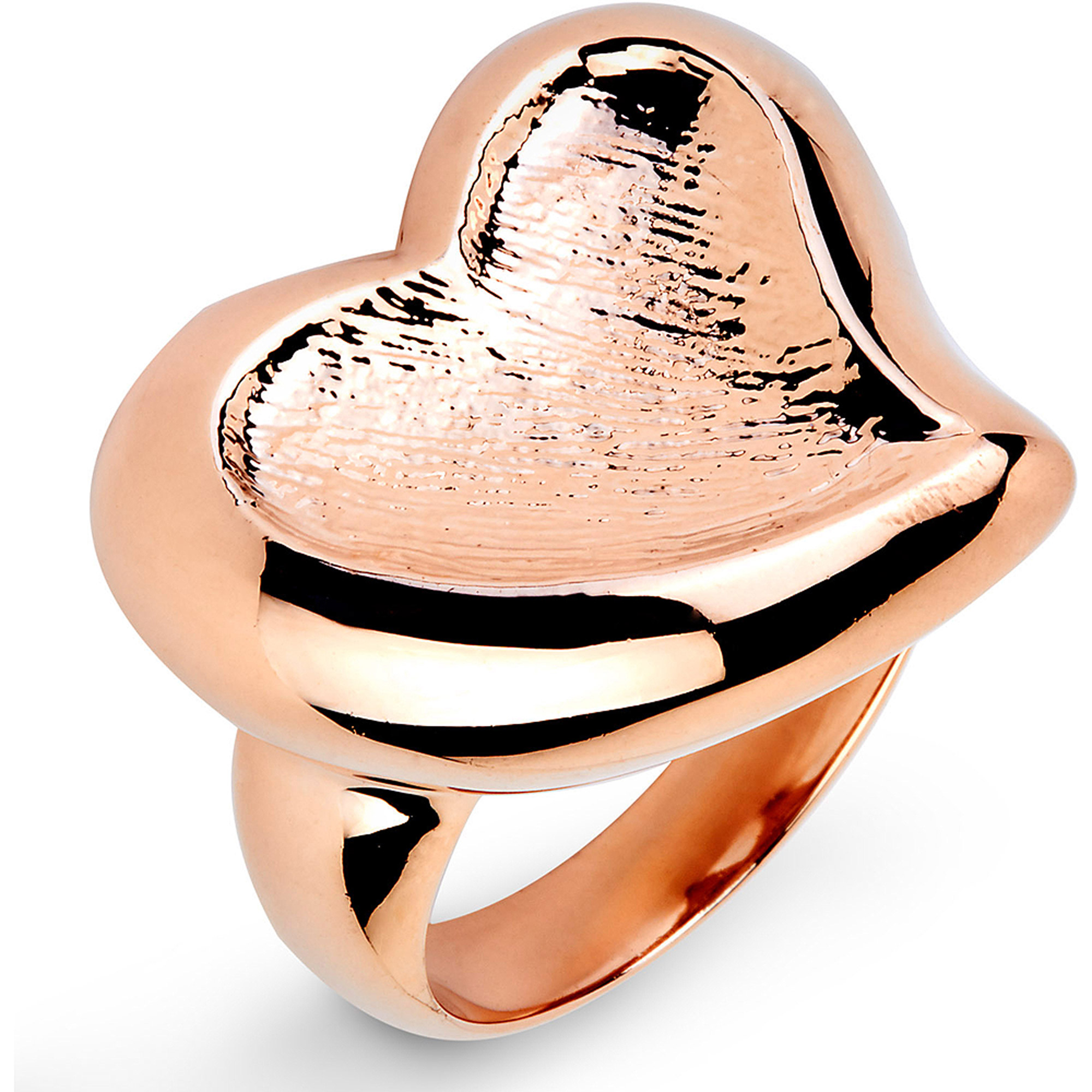 Rose Gold-Plated Stainless Steel Heart-Shaped Freeform Ring