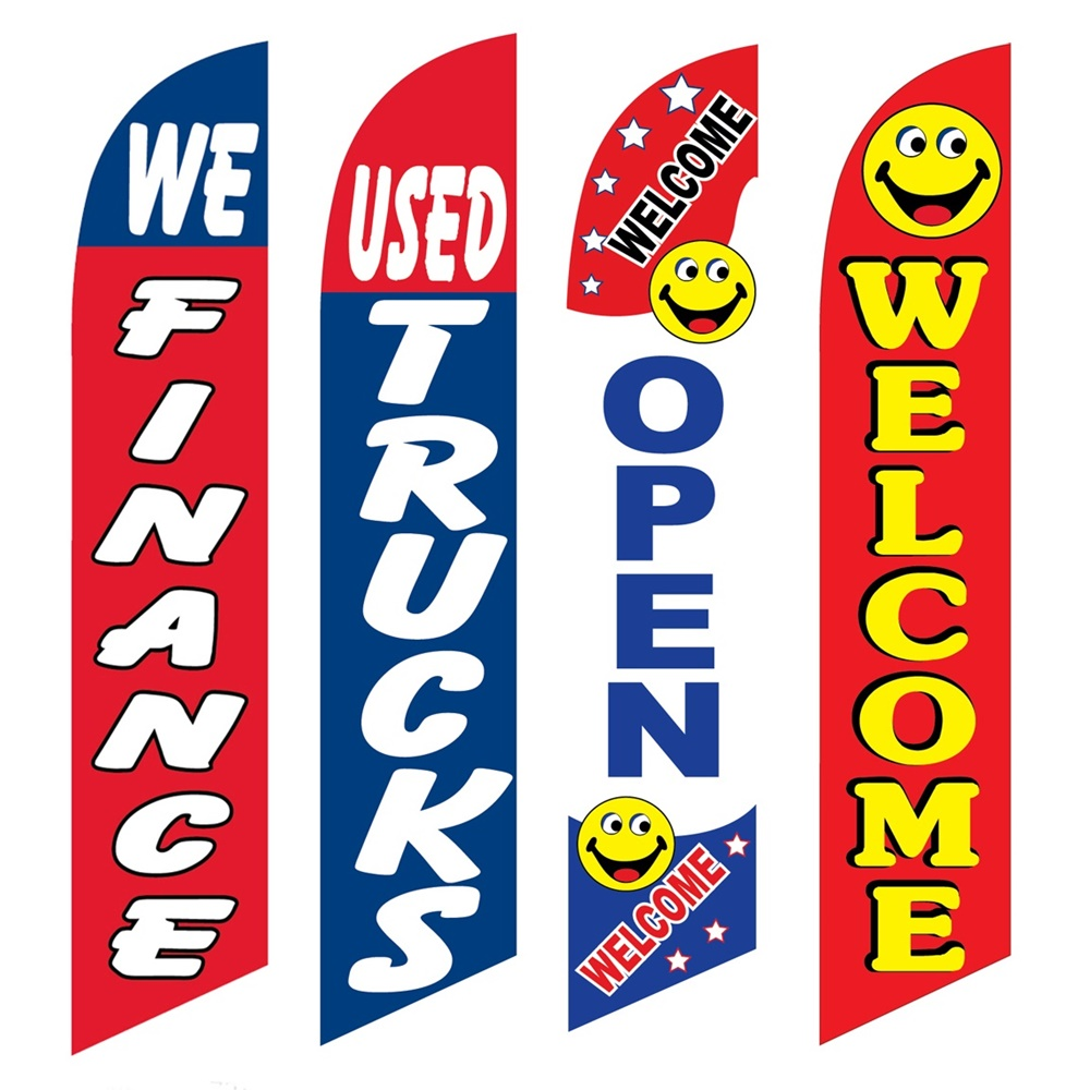4 Advertising Swooper Flags We Financed Used Trucks Open Welcome