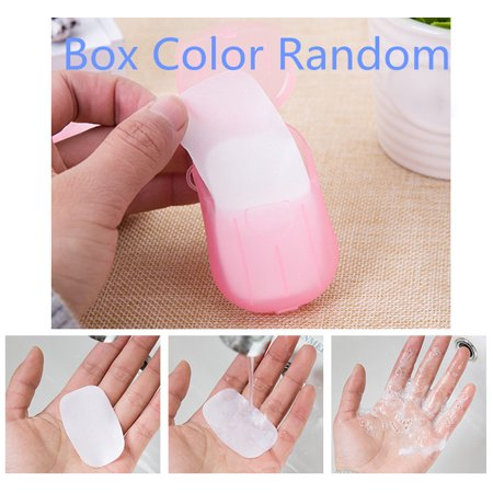 Jeobest Portable Soap Paper - Disposable Hand Wash Paper Soap - Mini Slice Travel Soap - Portable Disposable Soap Paper Flakes Washing Hand Bath Travel Scented Small Soap Box Paper MZ