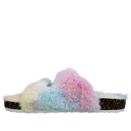 Secret Treasures Women's Luxe Faux Fur Two-Strap Slide Slipper