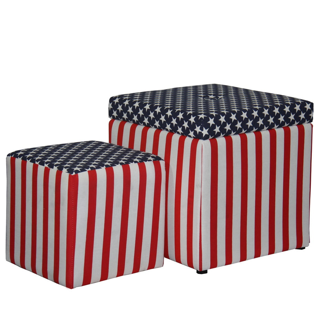 "18""H Patriotic Storage Ottoman Plus Extra Seating"
