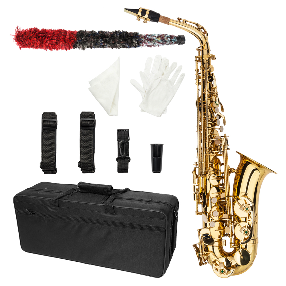 Zimtown  New  MBAT Professional Alto Eb Saxophone Sax Gold w/ Case Mouthpiece & Accessories