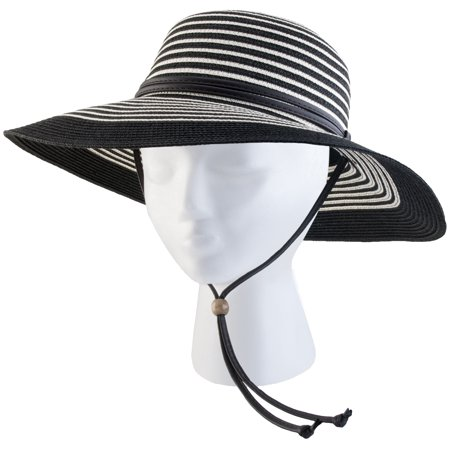 422BW Medium Women's Black and White Wide Brim Hat - Black And White Clown Hat