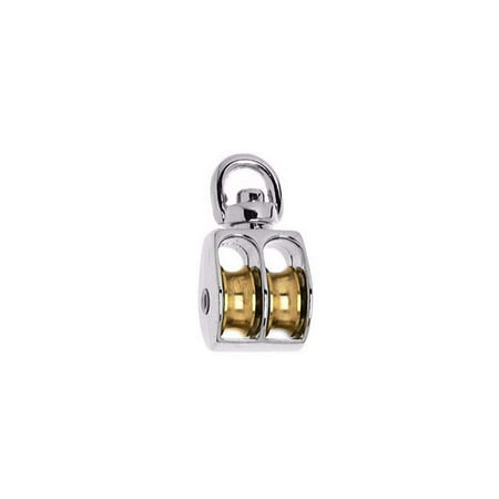 """Widesakll® 0.8"""" inch Nickel Plated Metal Swivel Double Eye Pulley 3/4"""" inch 25 lbs - Pack of 1"""