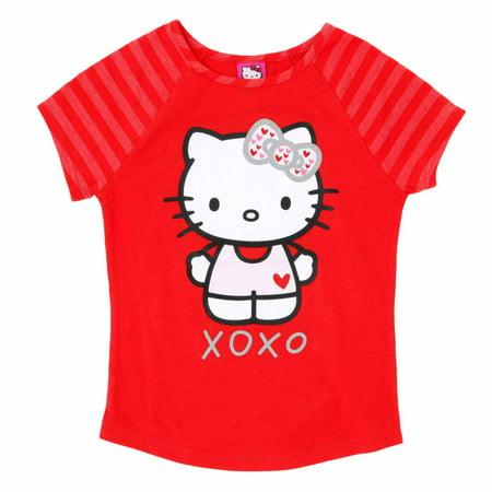 Hello Kitty Valentine (Hello Kitty Girls Red XOXO Valentine Short Sleeve Tee Shirt)