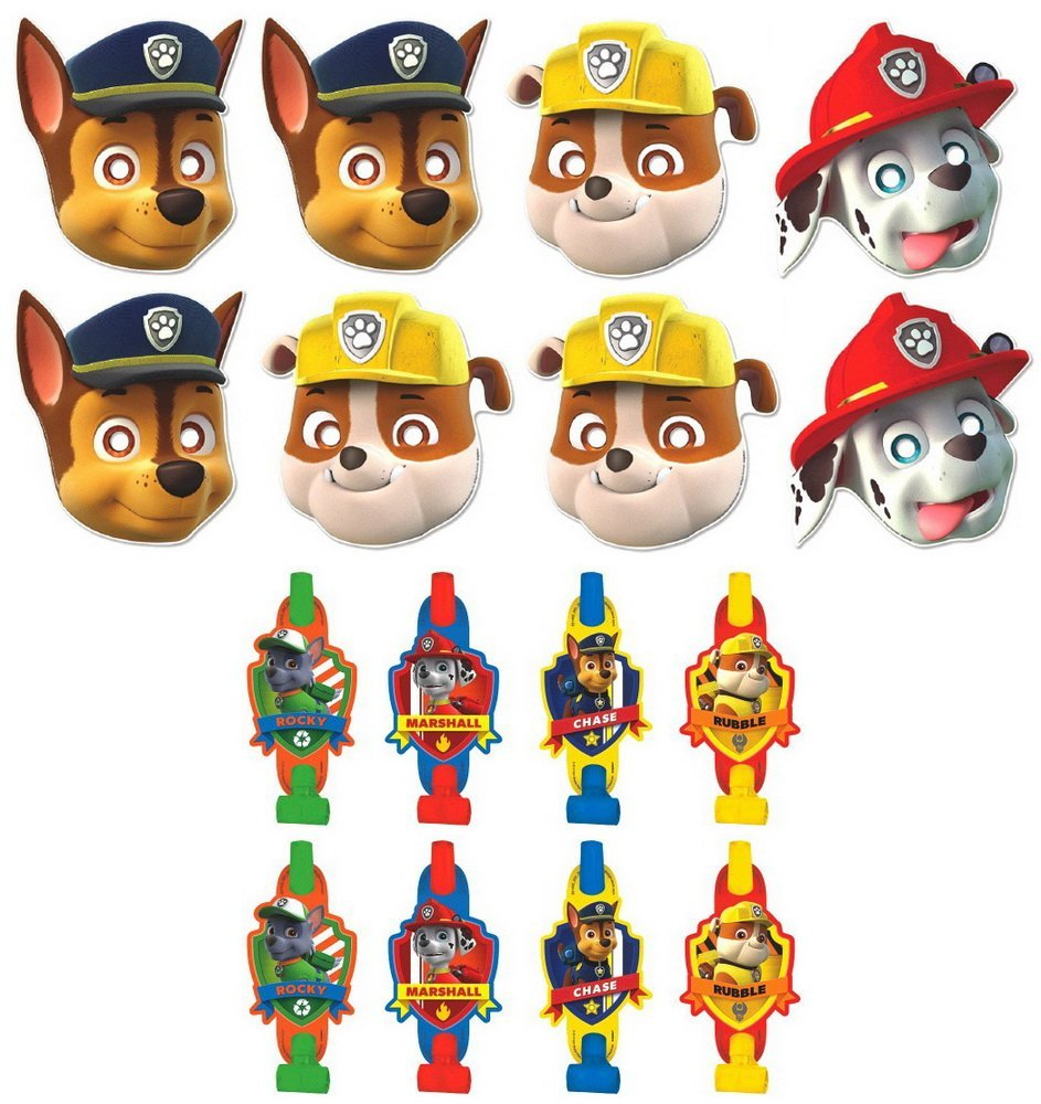 Birthday Party Favors Pack Including Blowouts, and Kids Party Masks - 8 Guests By Paw Patrol