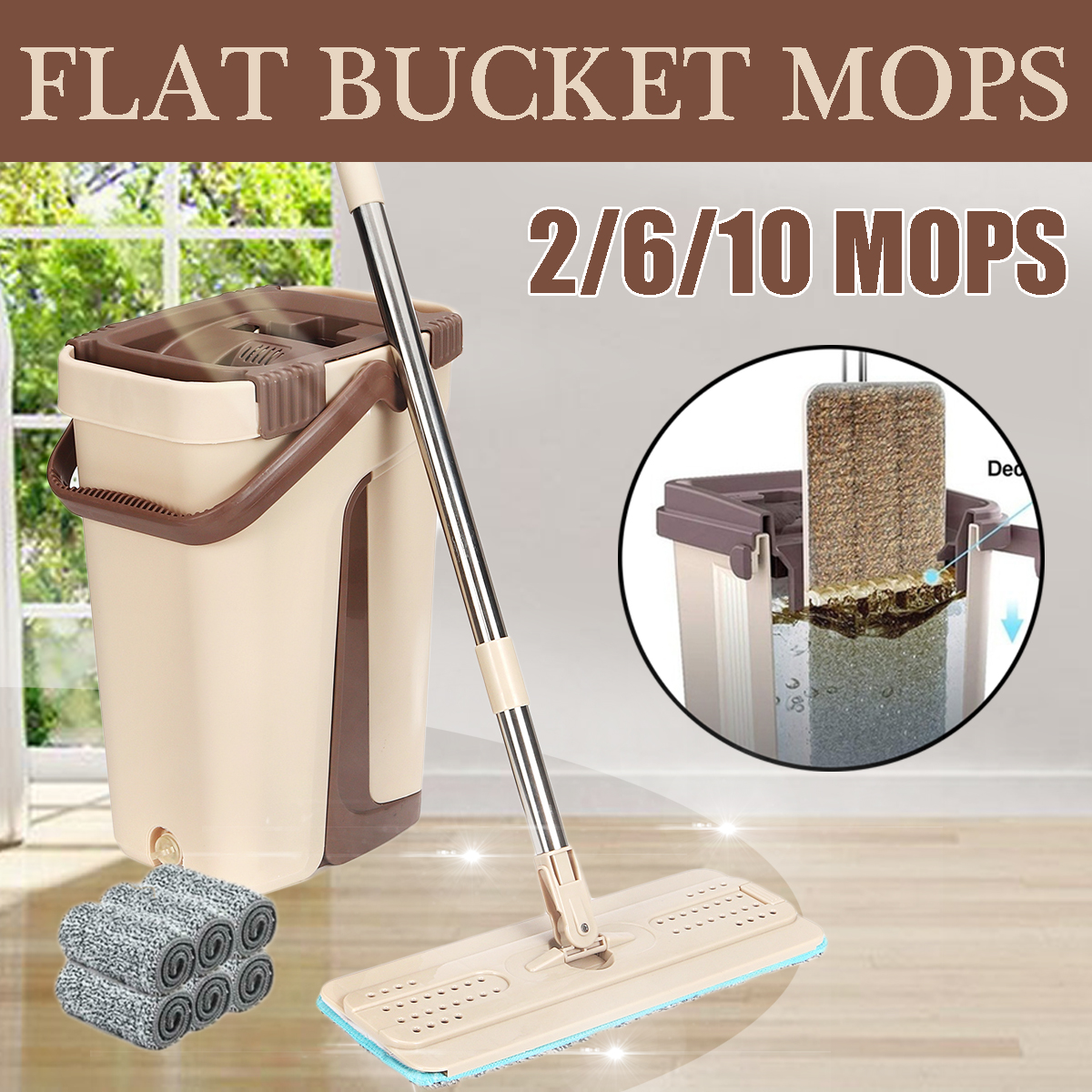 Mini Mop Bucket and Brake Frame Flat Mop