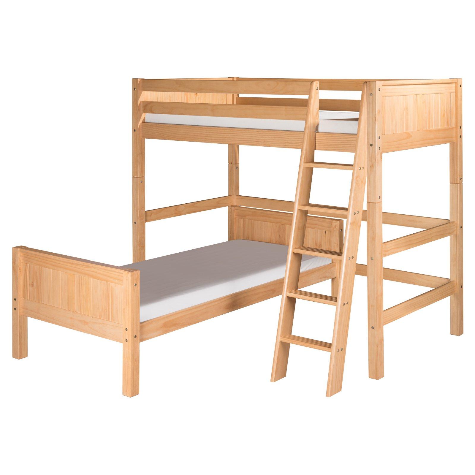 Camaflexi Twin over Twin Loft Bed - L Shape - Panel Headboard - Cappuccino Finish