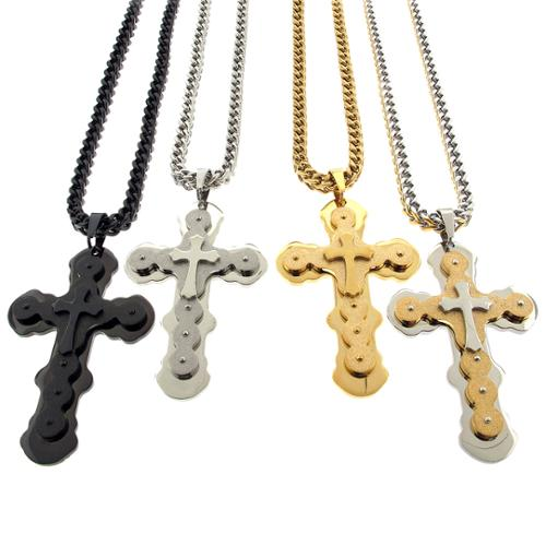 REL International Stainless Steel Men's Franco Chain Cross Charm 28-inch Necklace