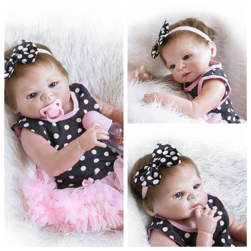 HOT 23/'/' Full Body Silicone Reborn Baby Doll Lifelike black Baby Dolls+Clothes
