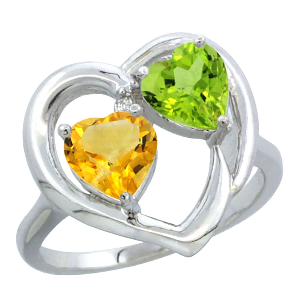 14K White Gold Diamond Two-stone Heart Ring 6mm Natural Citrine & Peridot, sizes 5-10