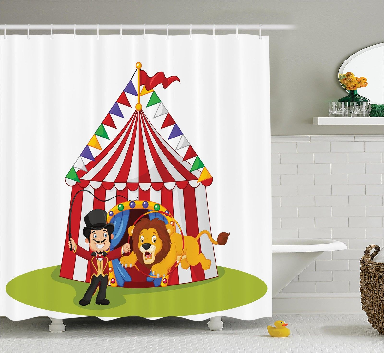 Circus Decor  Cartoon Lion Jumping Through Ring With Circus Tent Celebration Show, Bathroom Accessories, 69W X 84L Inches Extra Long, By Ambesonne