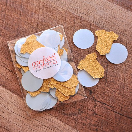 Royal Prince Baby Shower Decorations. Ships in 1-3 Business Days. Onesie and Circle Confetti 50CT. - Baby Shower Confetti