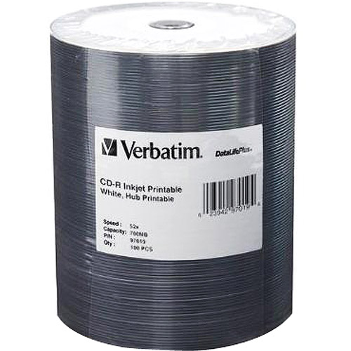 Verbatim 100-Pack 52X DataLifePlus White Inkjet Printable CD-R Spindle