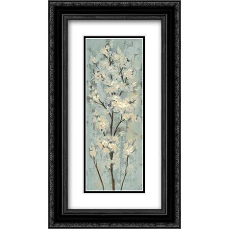 Almond Branch II on Light Blue 2x Matted 14x24 Black Ornate Framed Art Print by Vassileva, Silvia - Light Matted Print