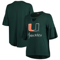 Miami Hurricanes Women's Ruffle and Ready Keyhole Tri-Blend 3/4-Sleeve Top - Green