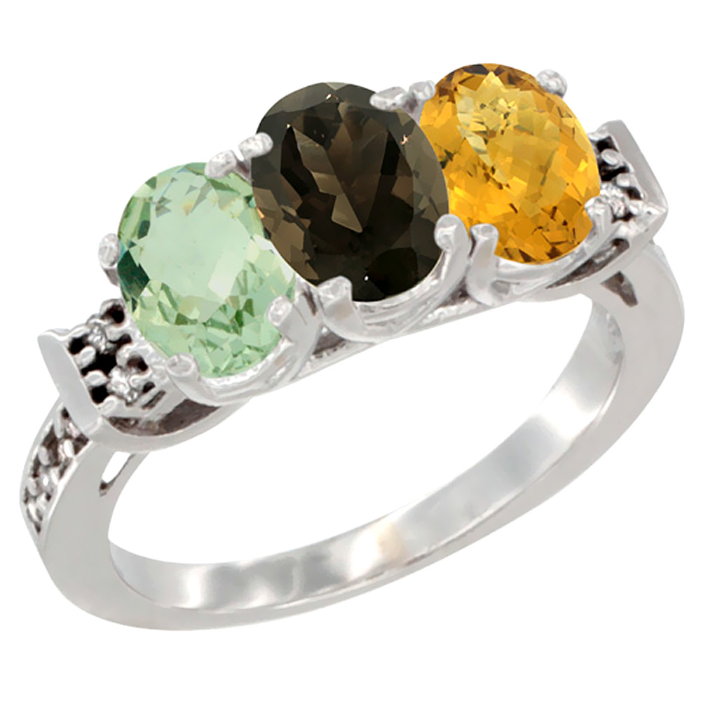 14K White Gold Natural Green Amethyst, Smoky Topaz & Whisky Quartz Ring 3-Stone 7x5 mm Oval Diamond Accent, sizes 5 - 10