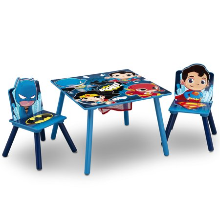 DC Super Friends (Batman, Superman, Wonder Woman, The Flash) Kids Table and Chair Set with Storage by Delta Children