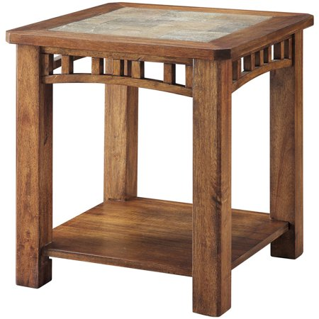 Coaster Square End Table with Slate Top in Light Oak