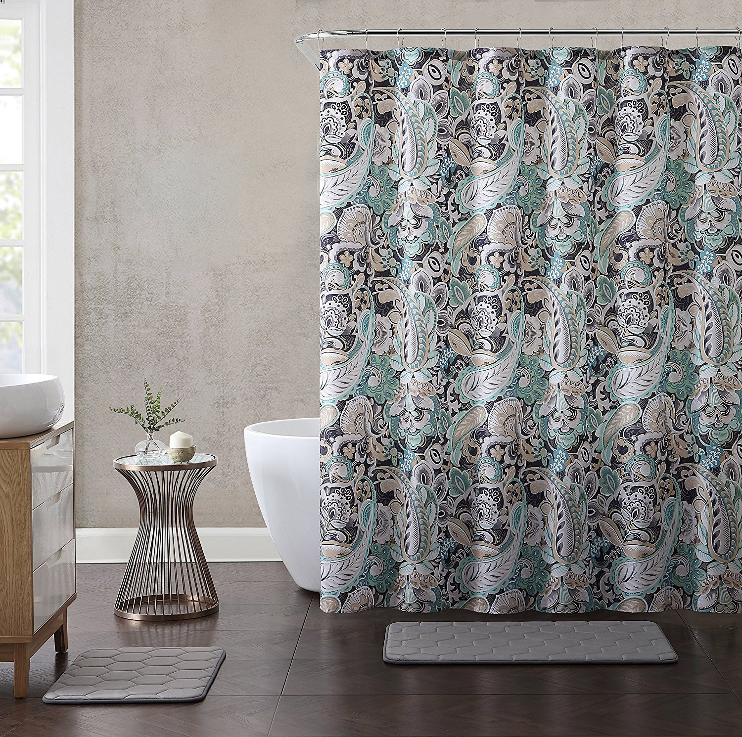 Paisley Print Fabric Shower Curtain Teal Black Taupe