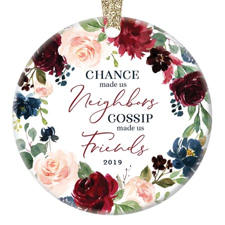 2019 Christmas Holiday Tree Ornament Gift Neighbors Community Members Good Neighborhood Friends Collectible Present Beautiful Ceramic Decoration Keepsake 3