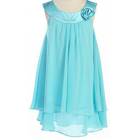 Big Girls' Girls Dress Kids Chiffon Layered Pageant Wedding Party Easter Flower Girl Dress Aqua 10 (K25D5) (Wedding Dresses Big Girls)