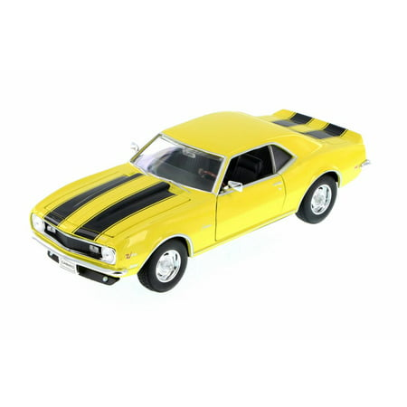 Camaro Z28 Convertible - 1968 Chevy Camaro Z28, Yellow w/ Black - Welly 22448WYL - 1/24 Scale Diecast Model Toy Car